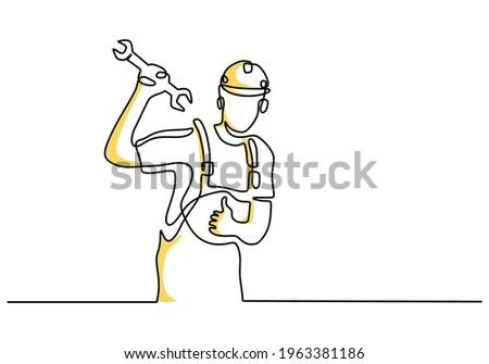 Handsome businessman with helmet drawing Stock photo © ra2studio