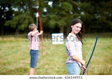 brothers practising archery Stock photo © photography33