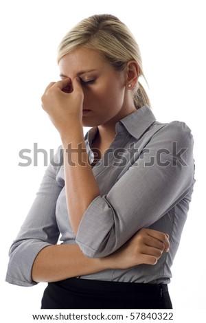 Jovem mulher de negócios estresse isolado branco Foto stock © dacasdo