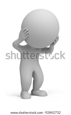 3d small person holding his head with his hands 3d image isola stock photo © dacasdo