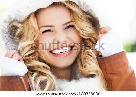kış · gün · güzel · bir · kadın · içme · sıcak - stok fotoğraf © nejron