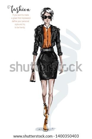 fiatal · magas · nő · fekete · ruha · izolált · fehér - stock fotó © nejron