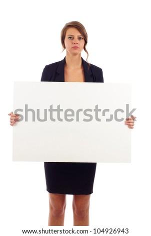 Zaklatott üzletasszony tart plakát izolált fehér Stock fotó © bmonteny