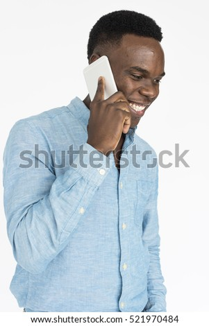 alegre · africano · moço · em · pé · falante · celular - foto stock © deandrobot