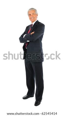 красивый бизнесмен Постоянный оружия сложенный белый Сток-фото © deandrobot