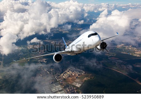 passenger business airplane take off and flying on white backgro stock photo © frameangel