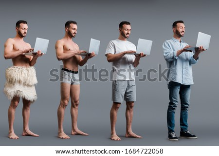 composite image of businessmen using laptop stock photo © wavebreak_media