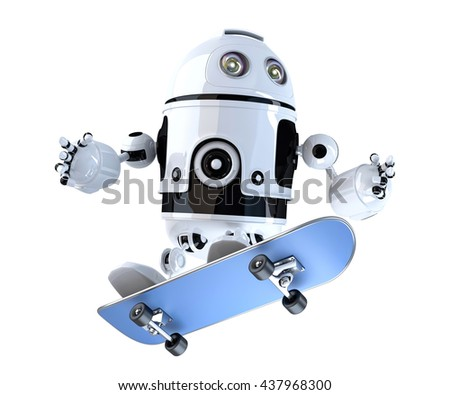 3d robot with skateboard 3d illustration contains clipping path stock photo © kirill_m