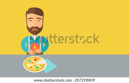 Human stomach burning. Fire in the stomach. Stomach pain concept Stock photo © Tefi