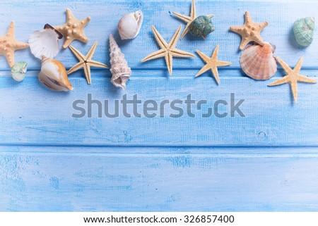 Sea frame. Different marine items on blue wooden background. Sea stock photo © Yatsenko
