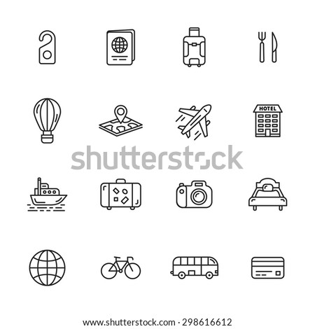 travel line icons set holidays transportation minimalist design collection   big pack stock photo © redkoala