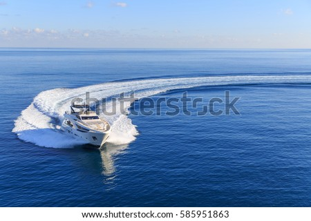 speedboat at light blue water ocean Stock photo © Wetzkaz