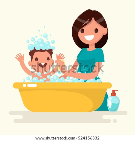 Girl in bath isolated. Woman washing. Bath and foam. Vector illu Stock photo © MaryValery