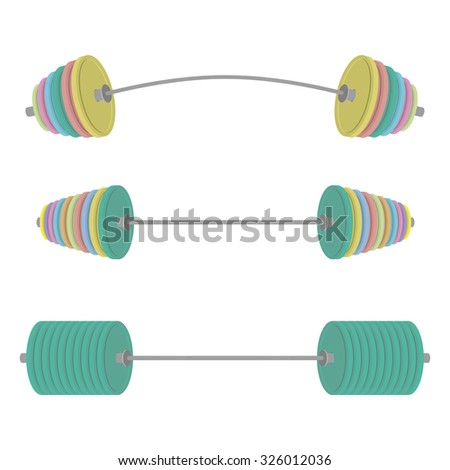 Athletic barbell with colored discs. Sports set projectile. Vect Stock photo © popaukropa