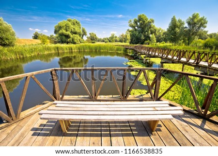 kopacki rit marshes nature park bird observation deck and wooden stock photo © xbrchx