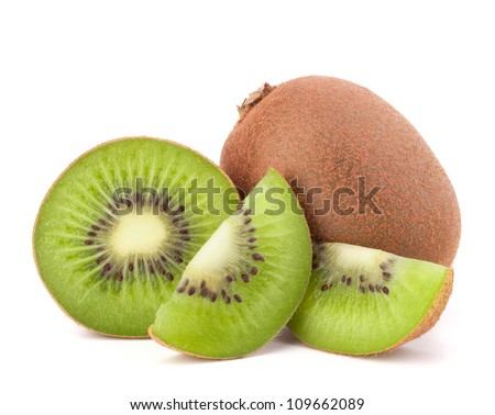 kiwi fruit and his sliced segments isolated on white background stock photo © ungpaoman
