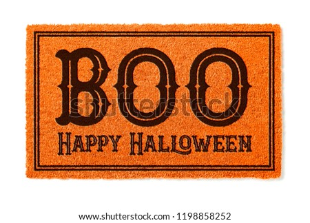Boo, Happy Halloween Orange Welcome Mat Isolated on White Backgr Stock photo © feverpitch