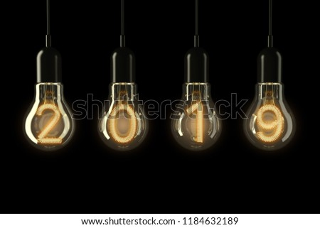 2019 Happy New Year illustration with 3d light bulb typography lettering and gold star on purple bac Stock photo © articular