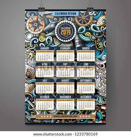 cartoon · bazgroły · morski · kalendarza · kolorowy - zdjęcia stock © balabolka