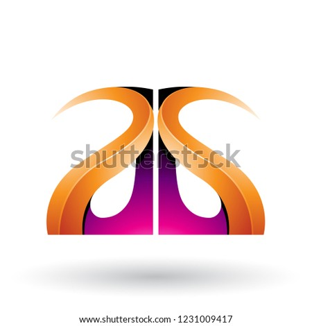 magenta and orange glossy curvy embossed letter g vector illustr stock photo © cidepix
