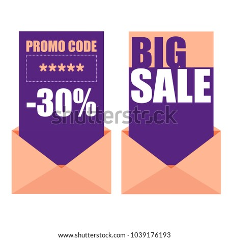 Stock photo: Sale creative badges set. Promo code and sale cards with envelopes Vector