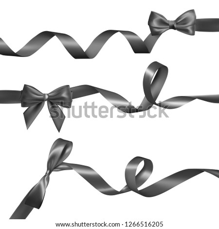 Set of Realistic black bow with long curled black ribbon. Element for decoration gifts, greetings, h Stock photo © olehsvetiukha