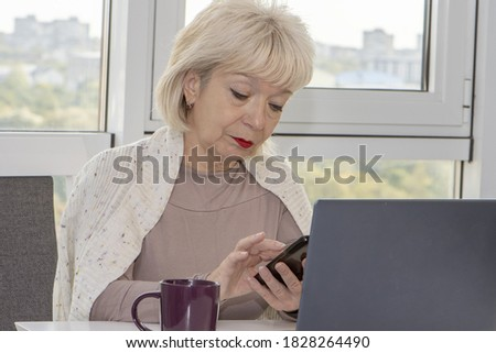 portrait of beautiful blonde businessoman making an inviting ges Stock photo © feedough