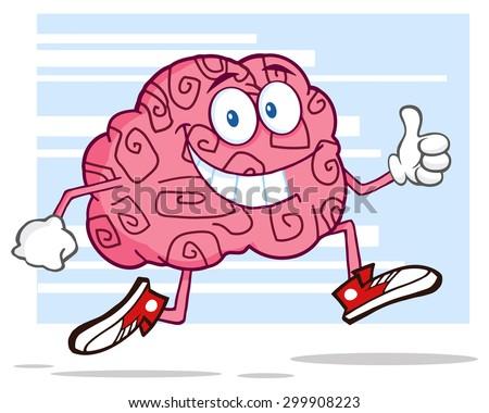Sonriendo cerebro correr pulgar hasta Foto stock © hittoon