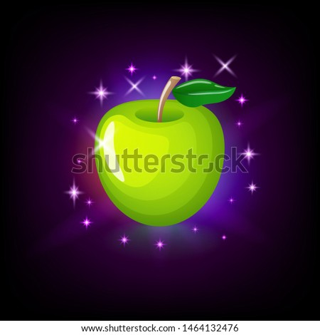 Green apple with leaf, slot icon for online casino or logo for mobile game on dark purple background Stock photo © MarySan