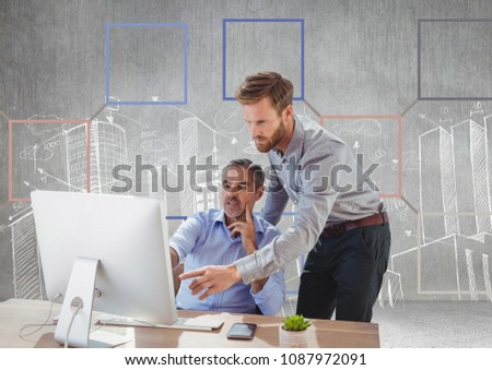Businessmen and Colorful mind map over city drawings background Stock photo © wavebreak_media