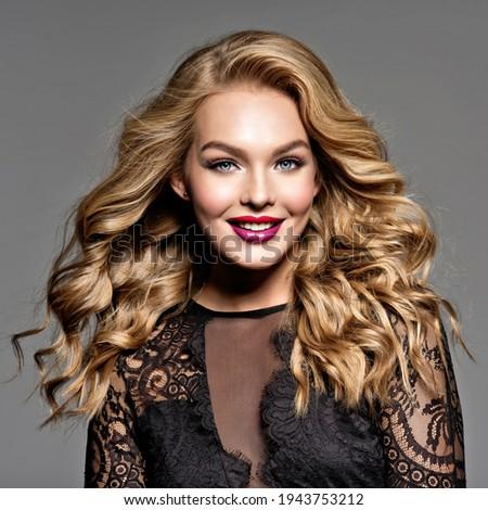 Woman with fashion hairstyle and make up. Trendy black lacy chok Stock photo © dashapetrenko