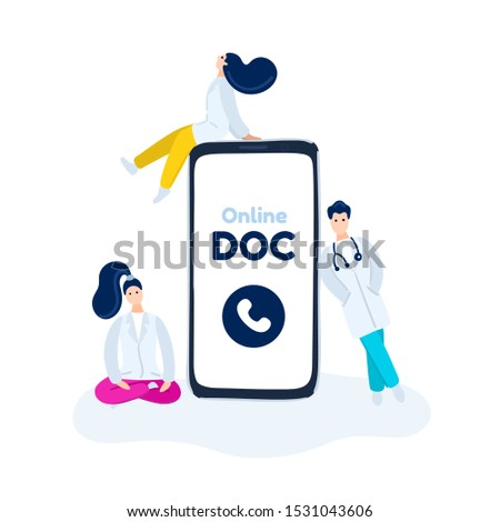 Virtual doctor. Mobile app. Doctors around smartphone await video communication with patient Stock photo © user_10144511