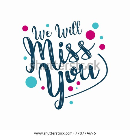 Miss you text. Vector lettering phrase for poster, greeting card, postcard. Love concept Stock photo © masay256