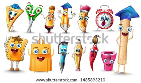 School sale cartoon characters Vector watercolor. Notebook pen and ruler funny characters illustrati Stock photo © frimufilms