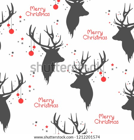 Christmas seamless pattern with  balls, reindeer horns and snow Stock photo © balasoiu