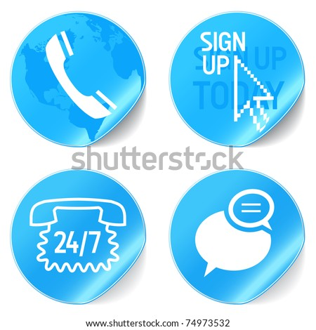 Blue set of web buttons for connect, join us, contact us, follow us, lof in and log out. Stock Vecto Stock photo © kyryloff