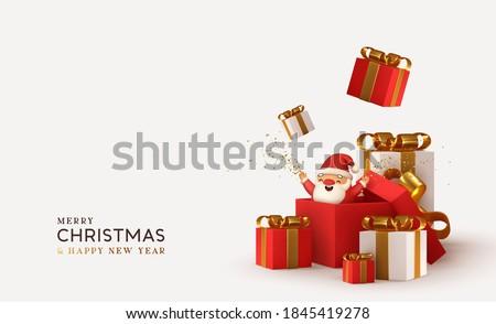 Realistico scatola regalo rosso arco confetti isolato Foto d'archivio © olehsvetiukha