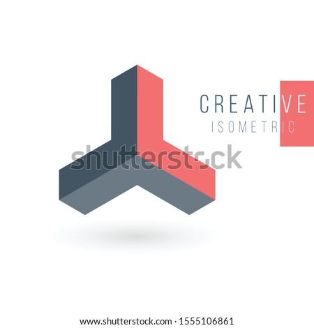 Triple arrow triangle abstract 3d isometric logo design template. Corporate brand identity. Stock Ve Stock photo © kyryloff
