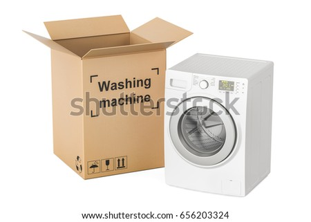 washing machine into box on white background. Isolated 3d illust Stock photo © ISerg