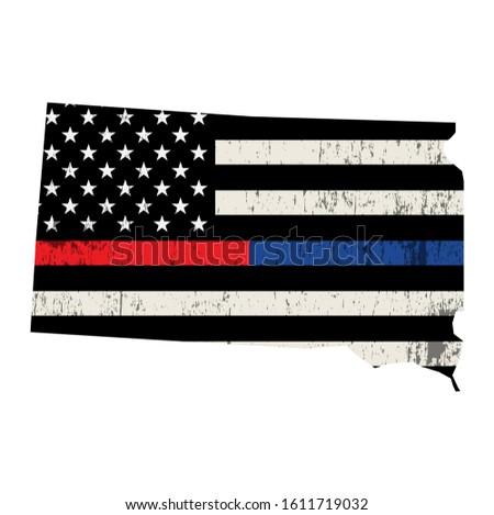South Dakota policji strażak wsparcia banderą amerykańską flagę Zdjęcia stock © enterlinedesign