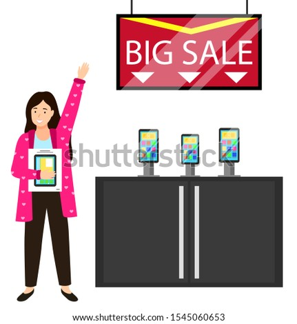 Kid Holding Smartphone Shopper at Store Vector Stock photo © robuart