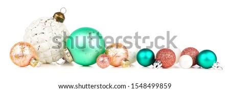 Pasztell arany karácsony golyók izolált fehér Stock fotó © ukasz_hampel