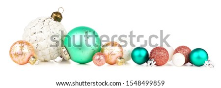 Pastel gold christmas balls isolated on white background. Photorealistic high quality vector set of  Stock photo © ukasz_hampel