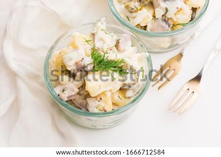 Salada pepino batata maionese mostarda peixe Foto stock © joannawnuk