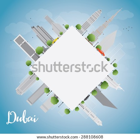 Dubai City skyline with grey skyscrapers, blue sky and copy spac Stock photo © ShustrikS