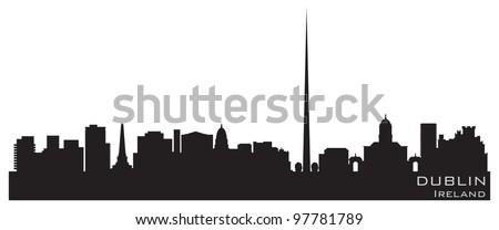 Dublin városkép feketefehér sziluett egyszerű turizmus Stock fotó © ShustrikS
