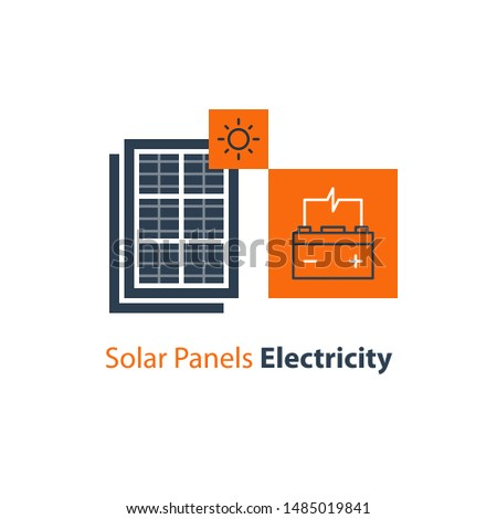 installer working solar battery icon vector outline illustration Stock photo © pikepicture