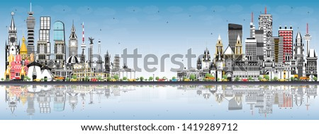 Frankfurt skyline grijs gebouwen blauwe hemel exemplaar ruimte Stockfoto © ShustrikS
