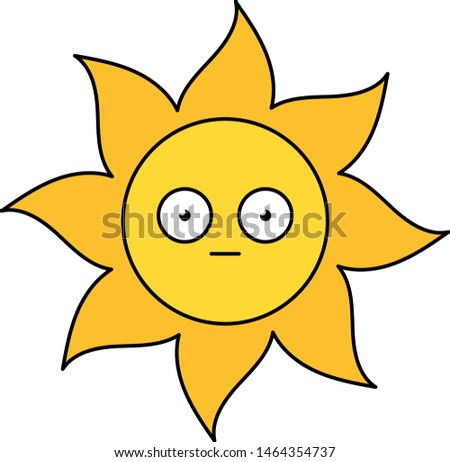 Shocked sun sticker outline illustration Stock photo © barsrsind