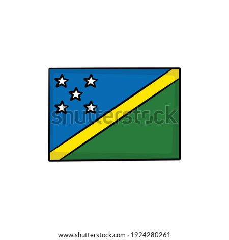 Solomon Islands flag and hand on white background. Vector illustration Stock photo © butenkow